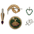 Estate Jewelry:Lots, Diamond, Multi-Stone, Cultured Pearl, Gold Jewelry. ... (Total: 5 Items)