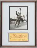Autographs:Checks, 1971 Frankie Frisch Twice-Signed Personal Check Framed Display....