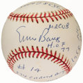 Autographs:Baseballs, Ernie Banks Single Signed Stat Baseball with 15 Inscriptions, Limited Edition 0235/1000. ...