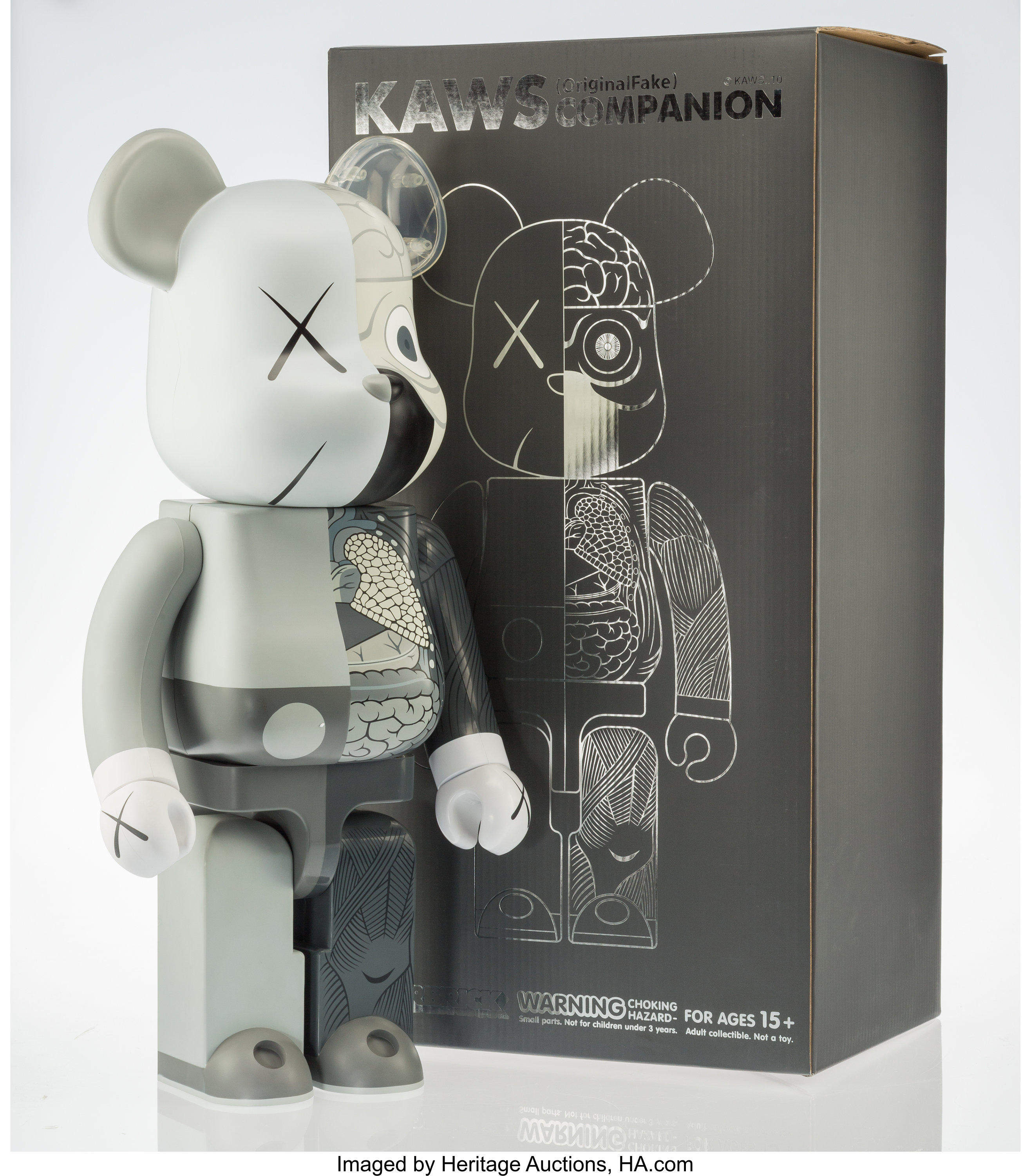 08236a75909 KAWS X BE@RBRICK. Dissected Companion 1000% (Grey), 2008. Painted ...