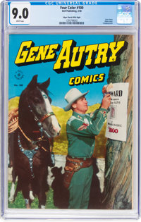 Four Color #100 Gene Autry Mile High Pedigree (Dell, 1946) CGC VF/NM 9.0 White pages