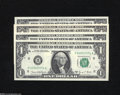 """Error Notes:Miscellaneous Errors, """"Gas Pump"""" or Partially Turned Digit Errors. Fr. 1907-H $1 1969D Federal Reserve Notes. Three Examples. Gem CU Fr. 1... (4 notes)"""