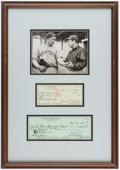 Autographs:Checks, Carl Hubbell & Bill Terry Signed Check Display....