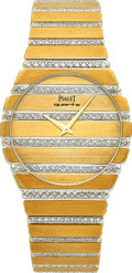 Timepieces:Wristwatch, Piaget Ref. 7661 C 705 Gentleman's Very Fine Diamond & Gold Polo. ...