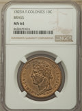 French Colonies: Charles X brass 10 Cents 1825-A MS64 NGC