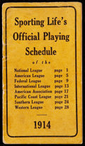 Baseball Collectibles:Publications, 1914 Sporting Life's Official Playing Schedule, Babe Ruth Rookie Season....