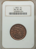 1852 1C MS64 Brown NGC. NGC Census: (165/167). PCGS Population: (222/152). MS64. Mintage 5,063,094. ...(PCGS# 1898)