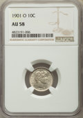 Barber Dimes: , 1901-O 10C AU58 NGC. NGC Census: (14/53). PCGS Population: (11/64). CDN: $350 Whsle. Bid for problem-free NGC/PCGS AU58. Mi...