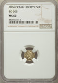 1854 50C Liberty Octagonal 50 Cents, BG-305, Low R.4, MS62 NGC. NGC Census: (18/15). PCGS Population: (30/47). ...(PCGS#...