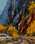 Paintings, J.W. Roy Kerswill (American, 1925-2002). Fall in the South Platte Canyon. Oil on board. 20 x 16 inches (50.8 x 40.6 cm)...