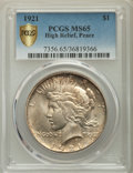 Peace Dollars, 1921 $1 MS65 PCGS Secure. PCGS Population: (1493/193 and 64/4+). NGC Census: (1195/137 and 46/7+). CDN: $1,400 Whsle. Bid f...