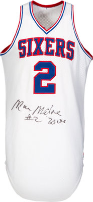 Circa 1984-5 Moses Malone Game Worn & Signed Philadelphia 76ers Jersey with Team Letter