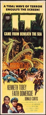 """It Came from Beneath the Sea (Columbia, 1955). Folded, Fine+. Trimmed Insert (14"""" X 35.5""""). Science Fiction..."""