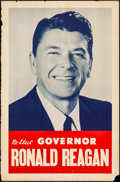 "Movie Posters:Miscellaneous, Ronald Reagan Gubernatorial Poster (Aldine, 1970). Rolled, Very Good-. Campaign Poster (25"" X 38"") ""Re-Elect Governor Ronald..."
