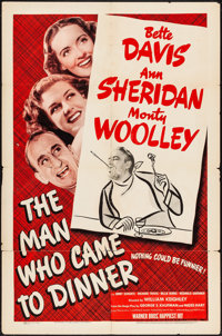 """The Man Who Came to Dinner (Warner Brothers, 1942). Folded, Very Good/Fine. One Sheet (27"""" X 41""""). Comedy"""