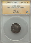 1798 10C Large 8 -- Bent, Corroded -- ANACS. VG8 Details. JR-4. NGC Census: (2/40). PCGS Population: (1/68). CDN: $815 W...