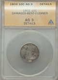 1802 10C -- Bent, Damaged, Cleaned -- ANACS. AG3 Details. NGC Census: (0/27). PCGS Population: (8/62). Mintage 10,975...