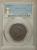 1819/8 1C Large Date AU53 PCGS Secure. PCGS Population: (4/69 and 0/1+). NGC Census: (3/38 and 0/0+). Mintage 2,671,000...