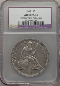 1861 $1 -- Improperly Cleaned -- NCS. AU Details. OC-2, High R.3....(PCGS# 6951)