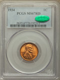1934 1C MS67 Red PCGS. CAC. PCGS Population: (370/22). NGC Census: (429/4). CDN: $150 Whsle. Bid for problem-free NGC/PC...
