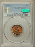 1921 1C MS66 Red and Brown PCGS Secure. CAC. PCGS Population: (7/0 and 0/0+). NGC Census: (11/0 and 0/0+). Mintage 39,15...