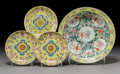 Ceramics & Porcelain, Three Chinese Yellow Ground Enameled Porcelain Dishes and Enameled Bowl, early 20th century. Marks: (six character Guangxu m... (Total: 4 Items)