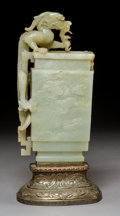 Carvings, A Chinese Carved Celadon Jade Vase with Dragon Figure, late Qing Dynasty-early Republic period. 13-5/8 x 6-1/2 x 4-3/4 (34.6...
