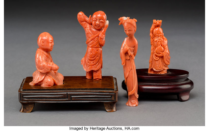 d24c6cec7c Three Chinese Figural Coral Carvings, early 20th Century. 3-1/2 x ...
