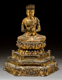 A Japanese Giltwood Seated Buddha Figure on Lotus Shrine Base, Edo period 17-1/4 x 14 inches (43.8 x 35.6 cm)