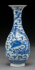 Ceramics & Porcelain:Chinese, A Chinese Blue and White Porcelain Yuhuchunping Vase with Dragon and Flaming Pearl Motif, Qing Dynasty. 10-1/8 inches (2...
