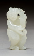 Asian:Chinese, A Chinese Carved White Jade Figure of Man Carrying Vase, Qing Dynasty. 1-7/8 inches (4.8 cm). ...