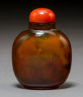 Decorative Accessories:Chinese, A Chinese Inside-Painted Agate Snuff Bottle, early 20th century. 2-3/4 inches (7.0 cm). ...