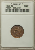 Proof Indian Cents, 1865 1C -- Cleaned -- ANACS. Proof Details. Mintage 500....