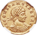Ancients:Roman Imperial, Ancients: Constans, as Caesar (AD 337-350). AV solidus (20mm, 4.42gm, 1h). NGC Choice XF ★ 5/5 - 5/5....