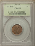 1910-S 1C MS64 Red and Brown PCGS. PCGS Population: (649/326). NGC Census: (237/140). CDN: $160 Whsle. Bid for problem-f...