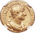 Ancients:Roman Imperial, Ancients: Hadrian (AD 117-138). AV aureus (18mm, 6.95 gm, 7h). NGC Fine 5/5 - 3/5, scratch....