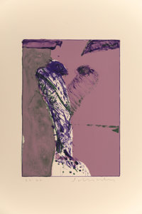 Fritz Scholder (1937-2005) Untitled (Purple and Green), n.d. Lithograph in colors on paper 26 x 2