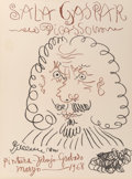 Prints & Multiples, After Pablo Picasso . Sala Gasper, exhibition poster, 1968. Lithograph in colors on Arches paper. 30 x 22-1/4 inches (76...