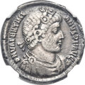 Ancients:Roman Imperial, Ancients: Valentinian I (AD 364-375). AR miliarensis (22mm, 4.89gm, 10h). NGC VF 5/5 - 2/5, edge filed....