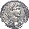 Ancients:Roman Imperial, Ancients: Constantius II, as Augustus (AD 337-361). AR miliarensis (21mm, 4.15 gm, 11h). NGC MS 5/5 - 2/5....
