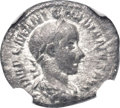 Ancients:Roman Imperial, Ancients: Gordian III (AD 238-244). AR quinarius (15mm, 1.24 gm,6h). NGC VF 4/5 - 3/5....
