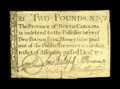 Colonial Notes:North Carolina, North Carolina December, 1771 £2 Extremely Fine. This is a reallynice example of a much scarcer denomination from this pop...