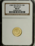 Territorial Gold: , (1842-52) G$1 A. Bechtler Dollar, 27G. 21C. MS63 NGC. K-24, R.3.For the collector of Territorial gold, or of Southern priv...