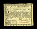 Colonial Notes:Rhode Island, Rhode Island July 2, 1780 $20 New. A little bit of corner handlingis noticed....