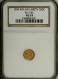 California Fractional Gold: , 1854 50C Liberty Round 50 Cents, BG-436, R.6, AU55 NGC. Defianteagle reverse without scroll. The rim and design details ar...