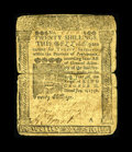Colonial Notes:Pennsylvania, Pennsylvania January 1, 1756 20s Very Good. This Franklin note hasa split on the horizontal crease which is strip repaired ...