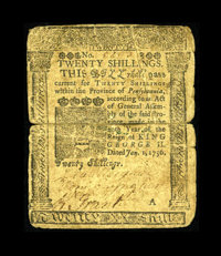 Pennsylvania January 1, 1756 20s Very Good. This Franklin note has a split on the horizontal crease which is strip repai...