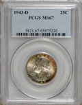 Washington Quarters: , 1943-D 25C MS67 PCGS. Vivid russet-orange patina graces the rims ofthis shining Superb Gem. Nicely detailed overall, and t...