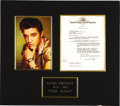"""Music Memorabilia:Autographs and Signed Items, Elvis Presley Signed """"Wild in the Country"""" Contract. A single-pageagreement dated September 13, 1960, engaging Elvis as the..."""