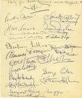 """Movie/TV Memorabilia:Autographs and Signed Items, Clifton Webb Celeb-Signed Guestbook Page. A page from a guestbook owned by Clifton Webb, labelled """"Party for Noel Coward, 10..."""